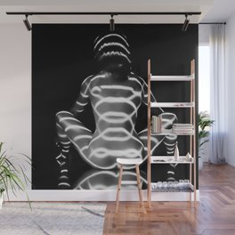 4048-MM Seated Art Nude BW Back Bum Rear View Striped Naked Wall Mural