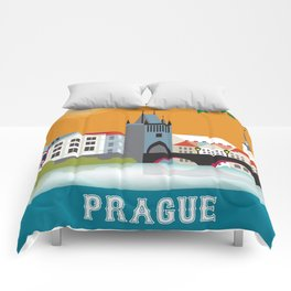 Prague, Czech Republic - Skyline Illustration by Loose Petals Comforters
