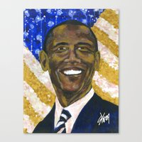 obama Canvas Prints featuring Obama by Stan Kwong