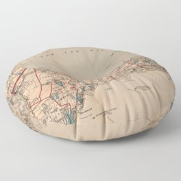 Vintage Map of Cape Cod MA (1905) Floor Pillow