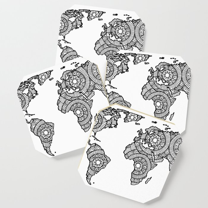 Mandala World Map Coaster By Julieerindesigns Society - Mandala map of the world