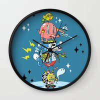 skate Wall Clocks featuring Skate Squad by Frenemy