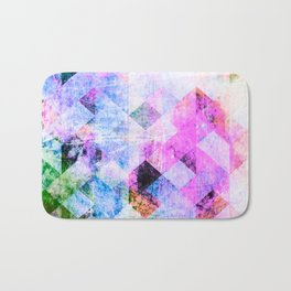 Pink/Blue Geometric Grungy Diamond Pattern Bath Mat