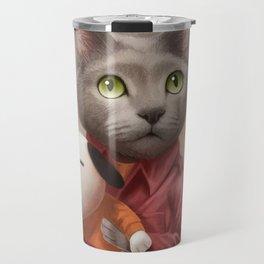 A cat holding a stuffed dog Travel Mug