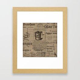 Vintage Ephemera Printed Burlap Framed Art Print