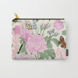 Pink flowers and butterflies Carry-All Pouch