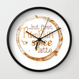 But First Pumpkin Spice Latte - Coffee Ring Wall Clock