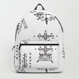 Papa Legba + Baron Samedi + Gran Bwa + Damballah-Wedo Voodoo Veve Symbols in White Backpack