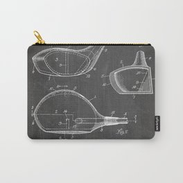 Golf Driver Patent - Golf Art - Black Chalkboard Carry-All Pouch