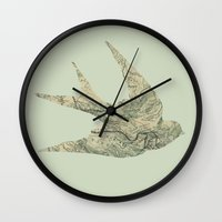 swallow Wall Clocks featuring Swallow by Emily