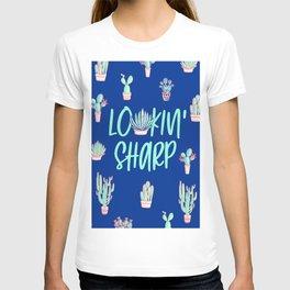 Lookin' sharp Cactus pattern - blue T-shirt