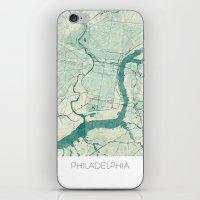 philadelphia iPhone & iPod Skins featuring Philadelphia Map Blue Vintage by City Art Posters