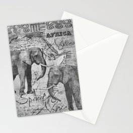 African Spirit Vintage Elephant black white Stationery Cards