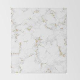 Fine Gold Marble Natural Stone Gold Metallic Veining White Quartz Throw Blanket