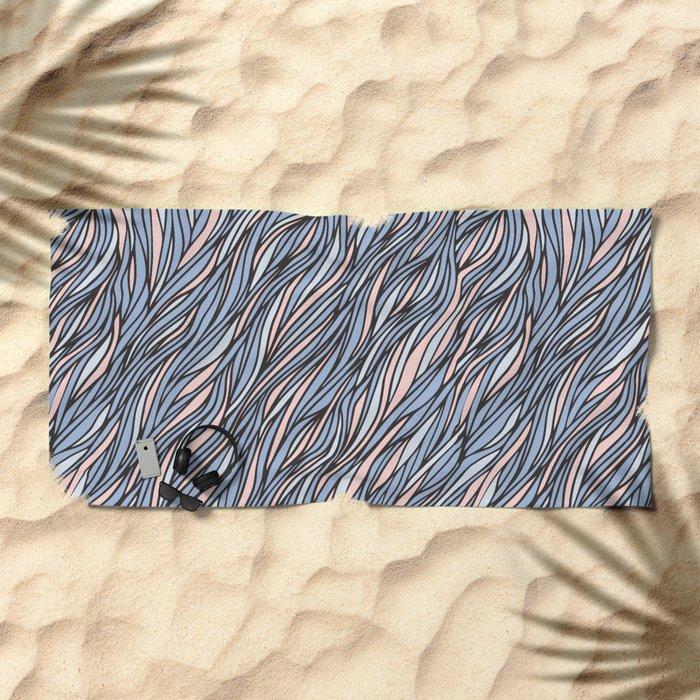 Rose quartz serenity wave pattern Beach Towel