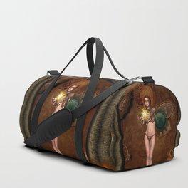 Wonderful steampunk women with wings Duffle Bag
