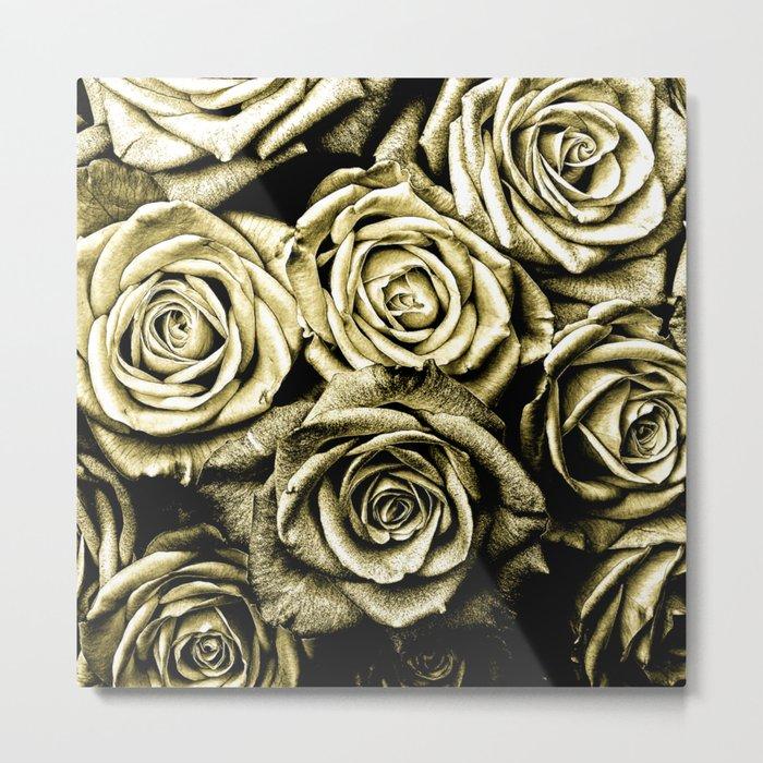 Vintage Gold Roses Metal Print