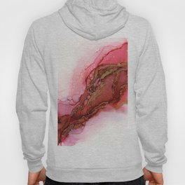 Red Dragon Scales Abstract Ink Painting Hoody