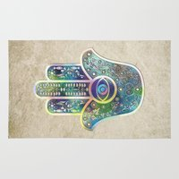 hamsa Area & Throw Rugs featuring Hamsa by Klara Acel