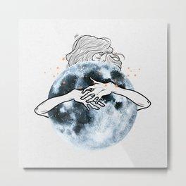 Hug the moon. Metal Print