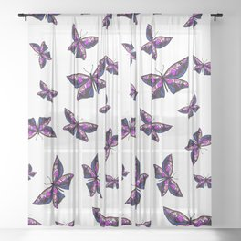 Fly With Pride: Genderfluid Flag Butterfly Sheer Curtain
