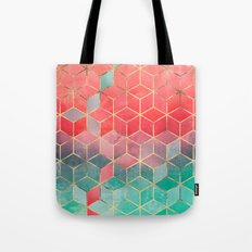 Rose And Turquoise Cubes Tote Bag