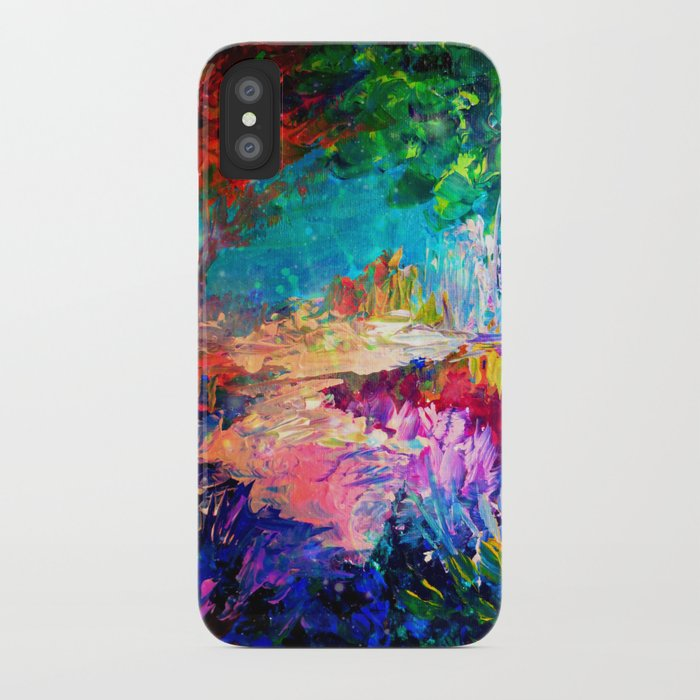 WELCOME TO UTOPIA Bold Rainbow Multicolor Abstract Painting Forest Nature Whimsical Fantasy Fine Art iPhone Case