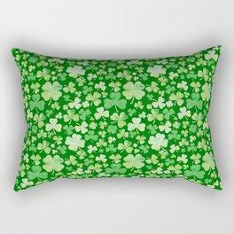 Lucky Green Watercolour Shamrock Pattern Rectangular Pillow