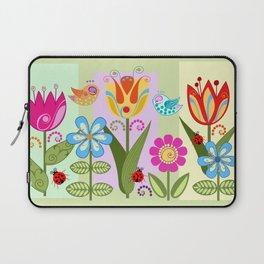 Decorative flowers, ladybugs and a bird Laptop Sleeve