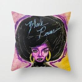 Black Power Neon Throw Pillow