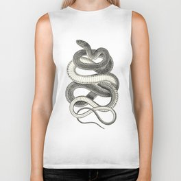 snake vintage style print serpent black and white 1800's Biker Tank