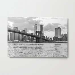The Brooklyn Bridge and the City Metal Print