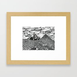 Mountain Block Print Framed Art Print