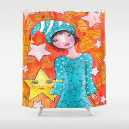 Whimsy Girl with Orange Background Shower Curtain