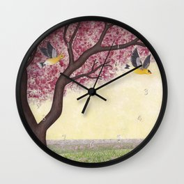 spring goldfinches Wall Clock