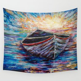 Wooden Boat at Sunrise Wall Tapestry