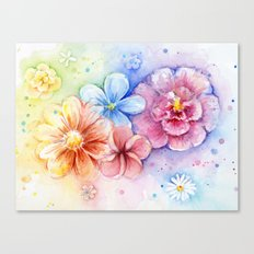 Flowers Watercolor Floral Colorful Rainbow Painting Canvas Print