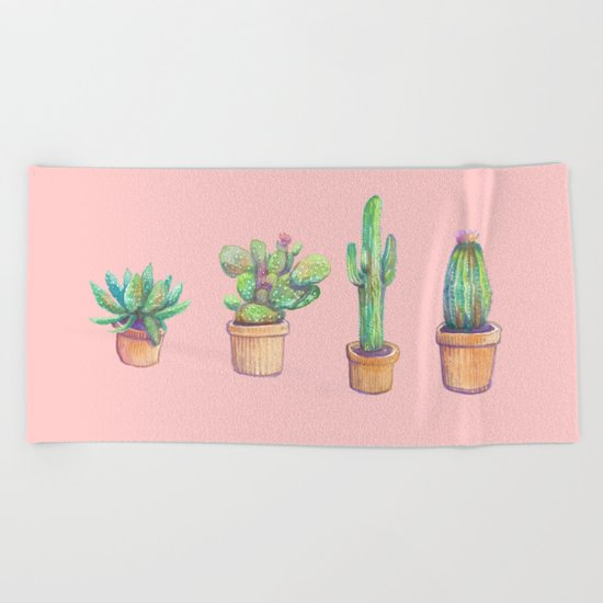 four water color cactus in pink Beach Towel