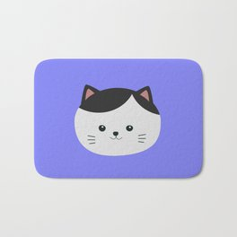 Cat with white fur and black hair Bath Mat