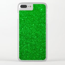 Emerald Green Shiny Metallic Glitter Clear iPhone Case