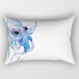 Octopus, sky blue, royal blue sea world underwater scene, beach house art Rectangular Pillow