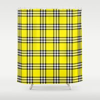clueless Shower Curtains featuring As If Plaid by Kat Mun