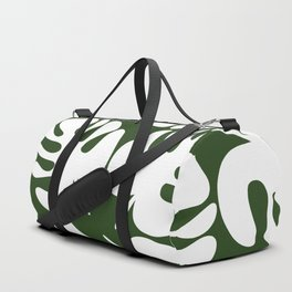 Monstera Leaves Pattern in White and Deep Forest Green Duffle Bag