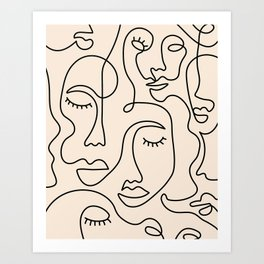 Abstract Single Line Face  Art Print
