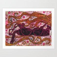 Girly Bra Woodcut Art Print