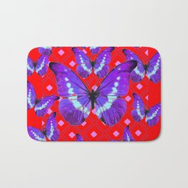 Purple Butterflies Flight on  Chinese Red Color Pattern Bath Mat