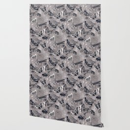 Dragonflies, Butterflies and Moths With Plants on Grey Wallpaper