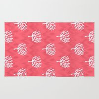 coral Area & Throw Rugs featuring Coral by Marta Li
