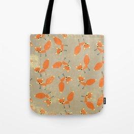 Retro Fox Pattern Tote Bag