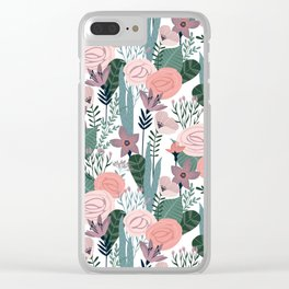Lovely Midcentury Vintage Wild Rose Pattern Clear iPhone Case
